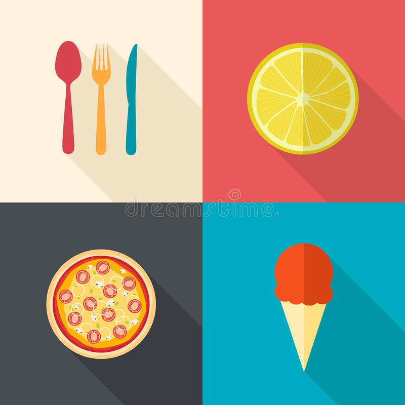 Dining items and food icons stock illustration