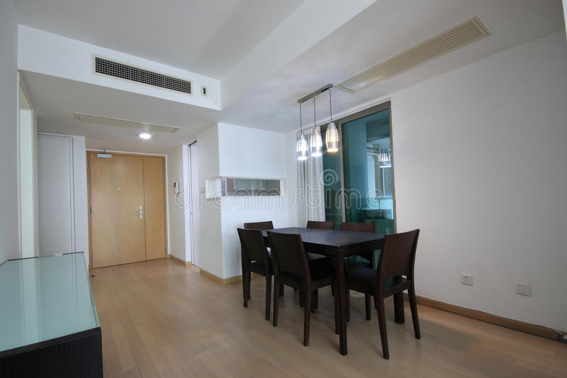 Dining room. A dining room of an apartment stock image