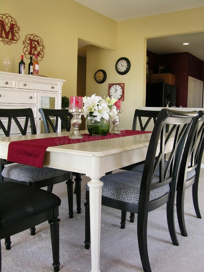 Dining Room. Black and white dining set in model home royalty free stock photography