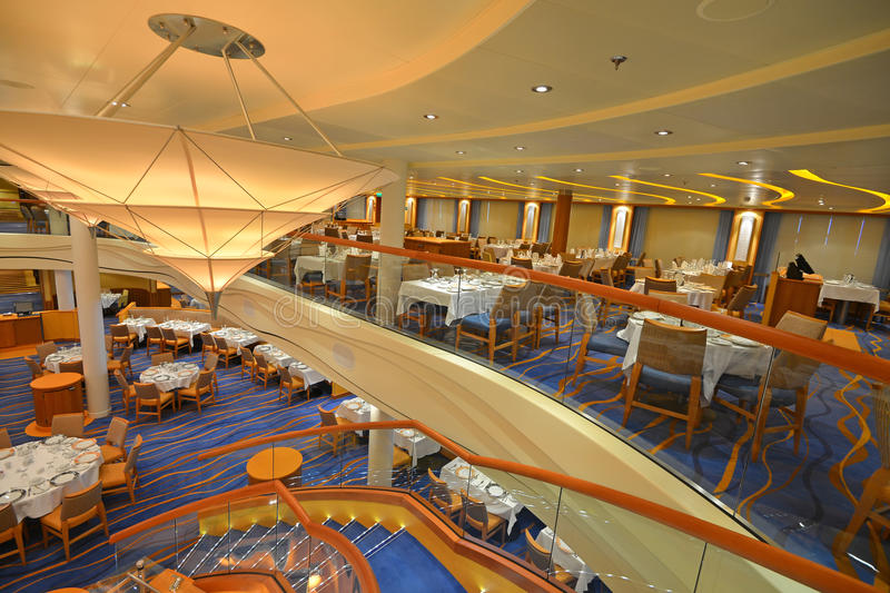 Dining room. On a beautiful cruise ship, amazing architecture stock photo