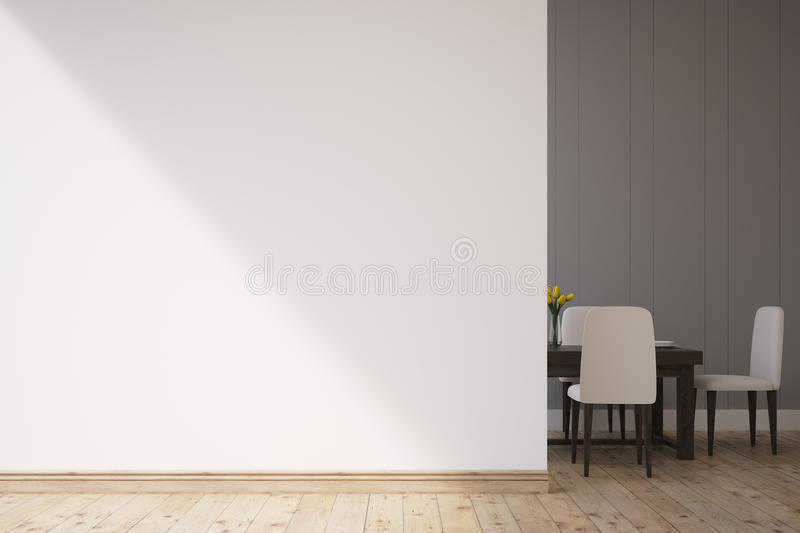 Dining room with chairs. Dining room interior with a white wall. There is a table and chairs in the corner. 3d rendering. Mock up royalty free illustration
