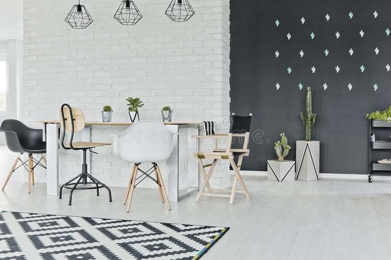Dining room with chalkboard royalty free stock photography