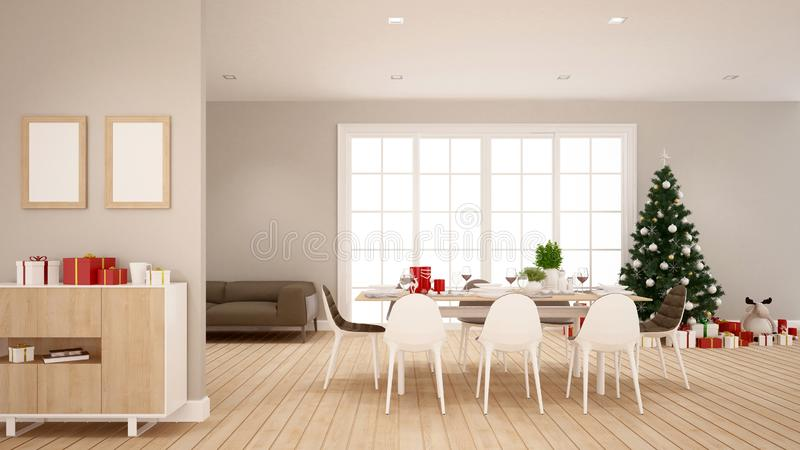 Dining room and christmas tree in home ro apartment - Illustration for christmas day - 3D Rendering royalty free stock photography