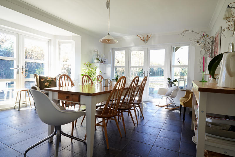 Dining Room In Contemporary Family Home royalty free stock image