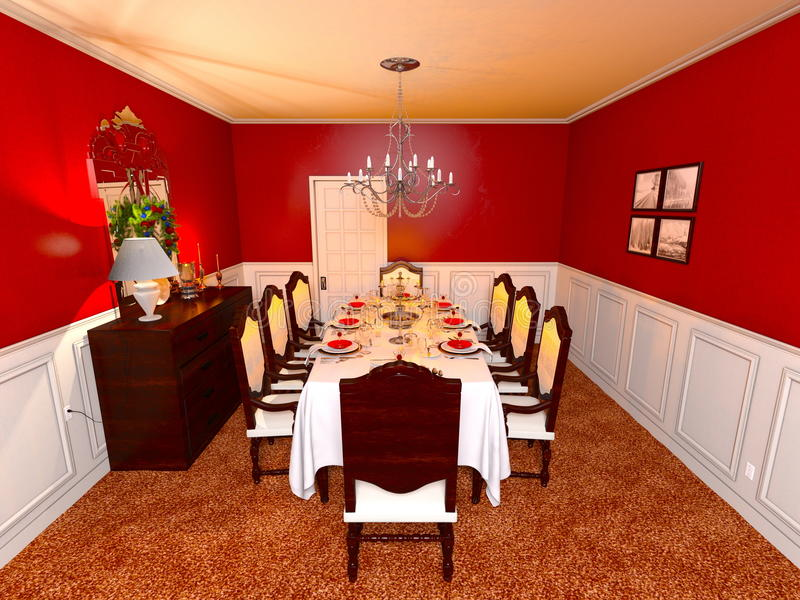 Dining room. 3D CG rendering of the dining room stock photo