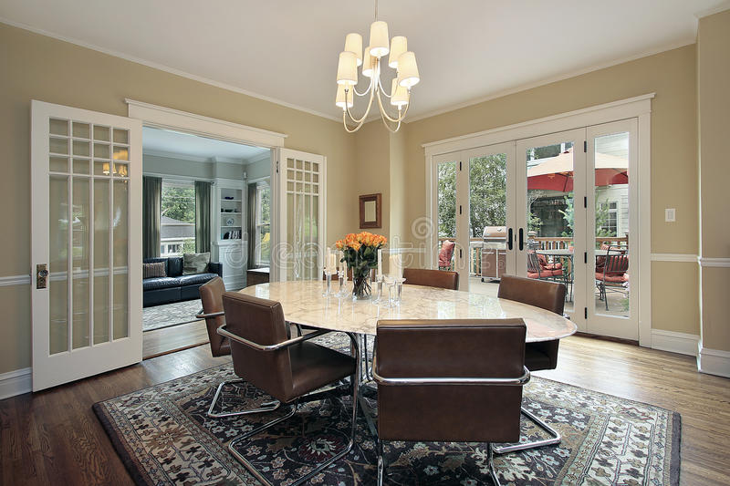 Dining room with deck view royalty free stock photo