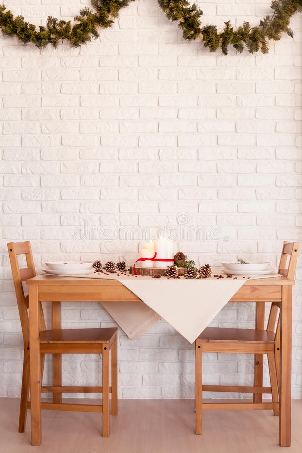 Dining room decorated for Christmas stock photos