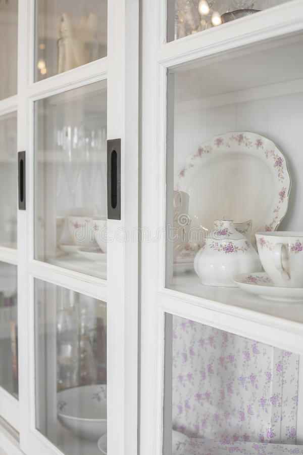 Dining room detail. White dining room romantic and stylish royalty free stock photography