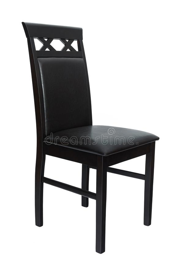 Dining room elegant chair. Classic black wooden and leather chair for dining and kitchen, isolated on white background royalty free stock photos
