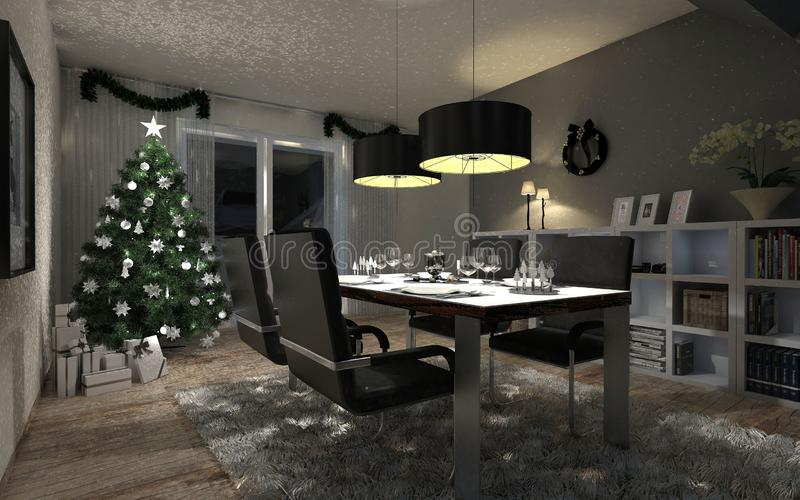 Dining room in the evening stock illustration