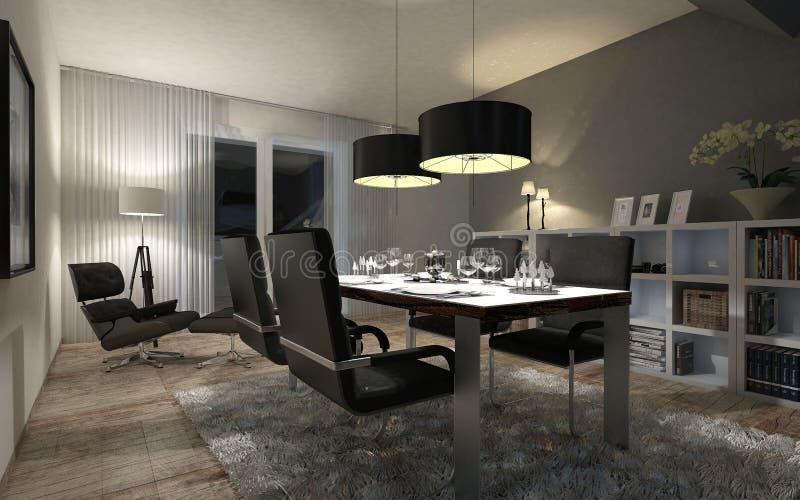 Dining room in the evening vector illustration