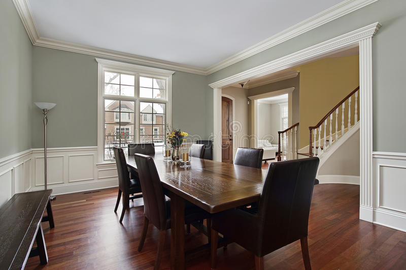 Dining room with foyer view stock image