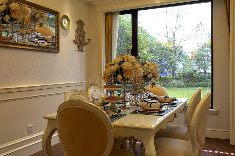The dining-room in the home royalty free stock photos