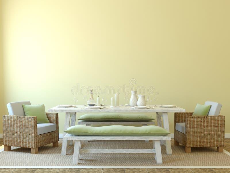 Dining-room interior. Modern dining-room interior. 3d render