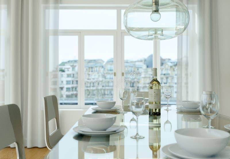 Dining room interior design in modern appartment. 3D Illustration vector illustration