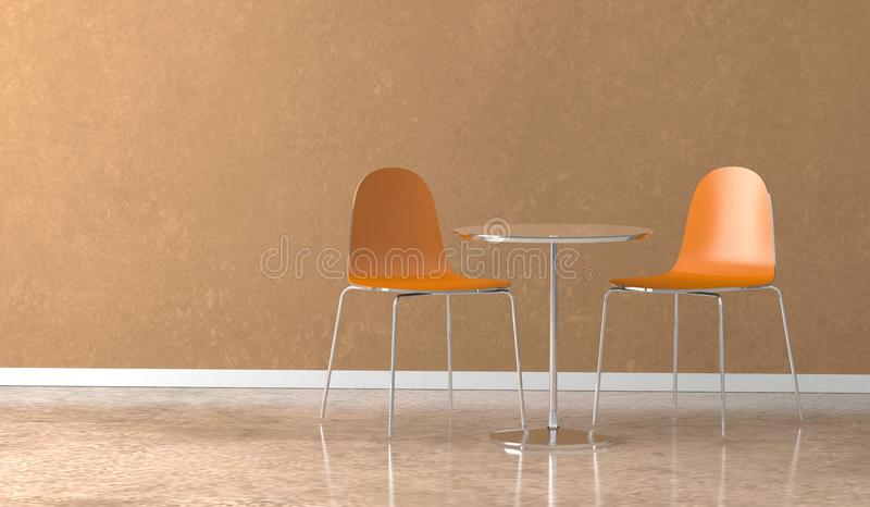 Dining room interior design tabel with orange chairs. 3D Illustration vector illustration
