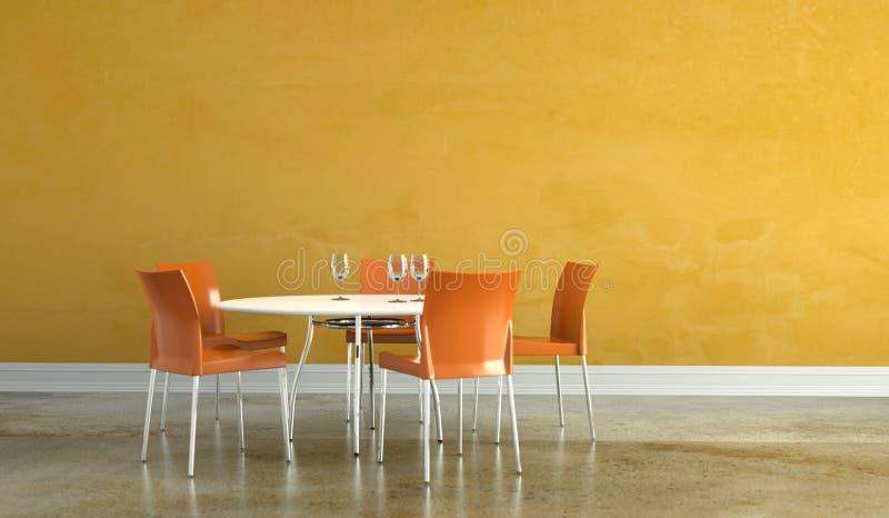 Dining room interior design tabel with orange chairs. 3D Illustration royalty free illustration