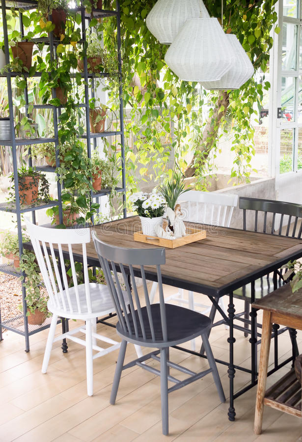 Download dining room interior with table chairs and plants against big w stock photo
