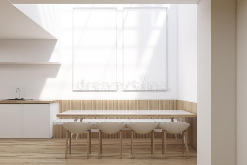 Dining room interior with two long posters stock illustration