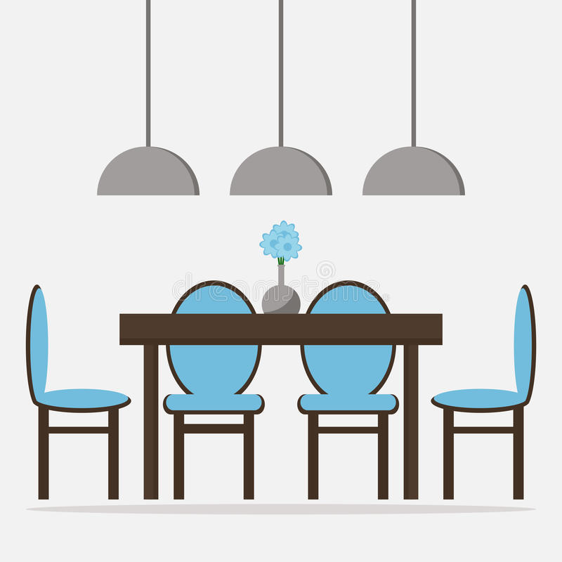 Flat Design Interior Dining Room Vector Illustration Stock: Dining Room Isolated Icon. Stock Vector. Illustration Of