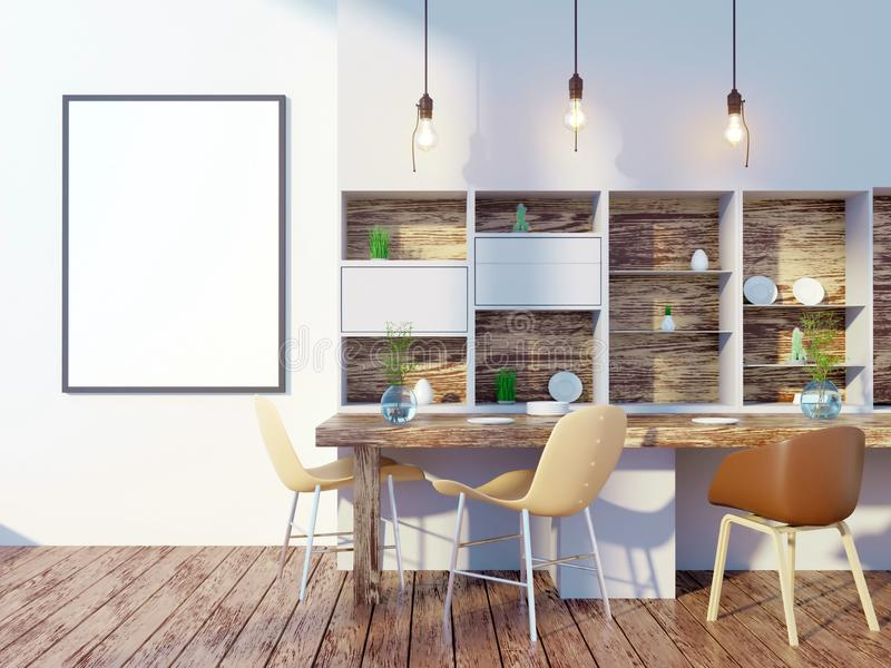 Dining room and kitchen interior wall mock up on white background, 3D rendering, 3D illustration stock illustration