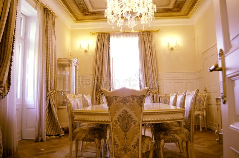 Dining room with luxury furniture and décor stock photo