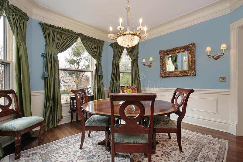 Dining room in luxury home royalty free stock photos