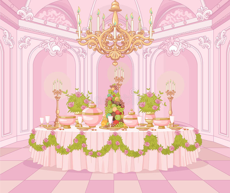 Dining Room in Princess Palace. Served dining table in the dining room in princess palace royalty free illustration