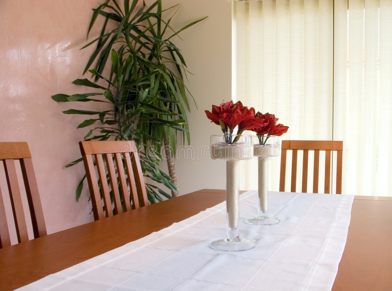 Dining room table. Modern interior, dining room table and chairs royalty free stock photo