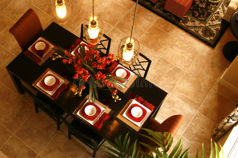 Dining Room Table from Above stock photo