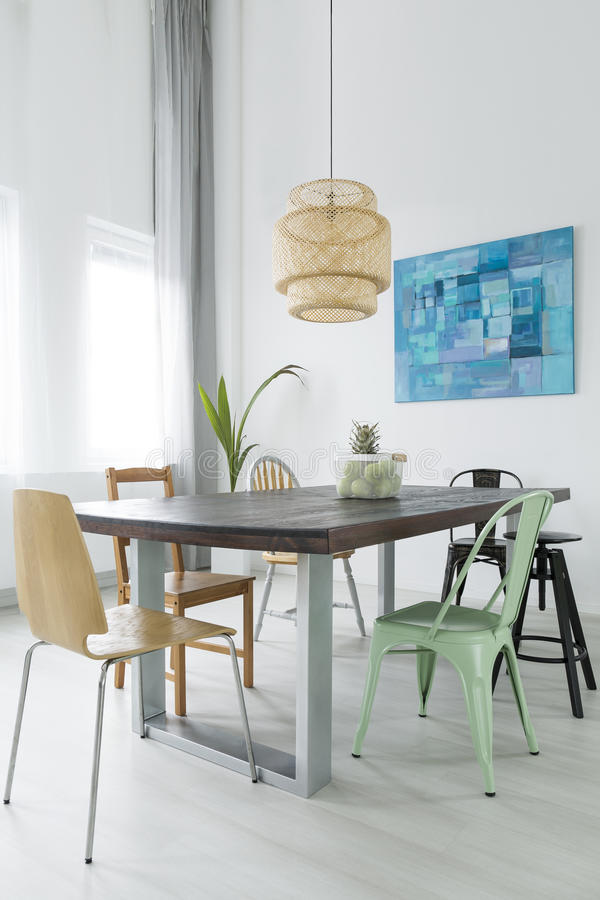 Dining room with trendy lamp stock photo
