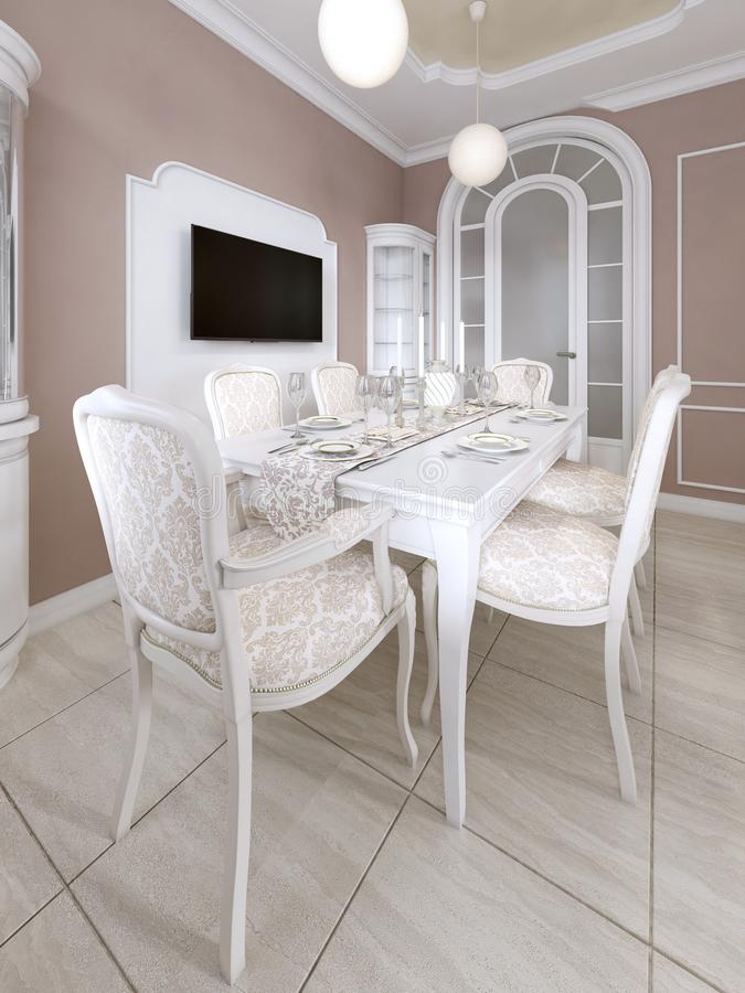 Dining room with white table and chairs for six people with two sideboards and a TV. 3D rendering vector illustration
