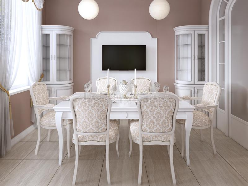 Dining room with white table and chairs for six people with two sideboards and a TV. 3D rendering royalty free illustration