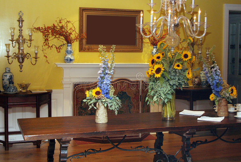 Dining Room in Yellow stock photos
