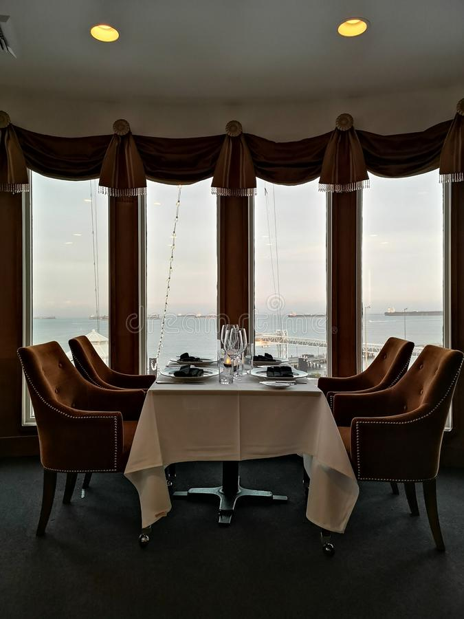 Dining on Ship with Ocean View royalty free stock photography