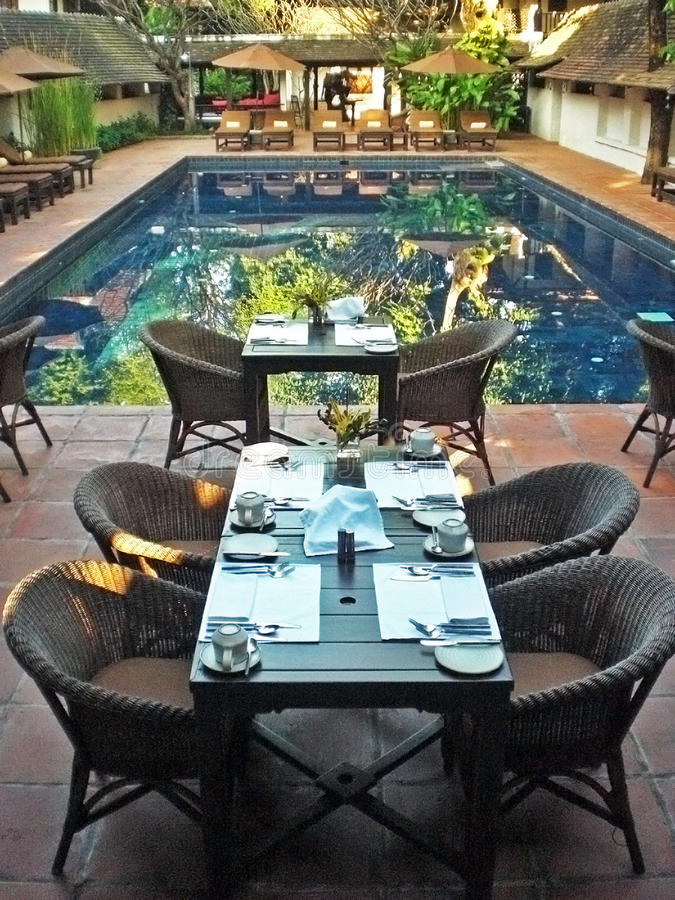 Dining space of resort in thailand stock images