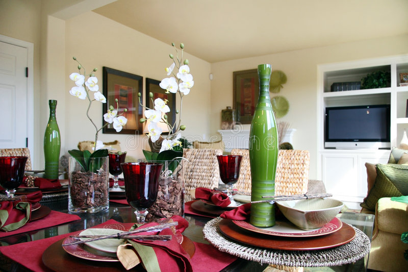 Dining table. Formal dining table with flower arrangements