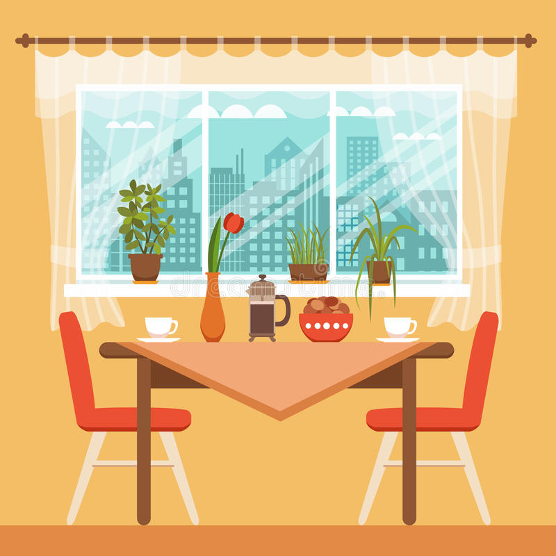 Dining Table With Chairs And Coffee Cups Stock Vector