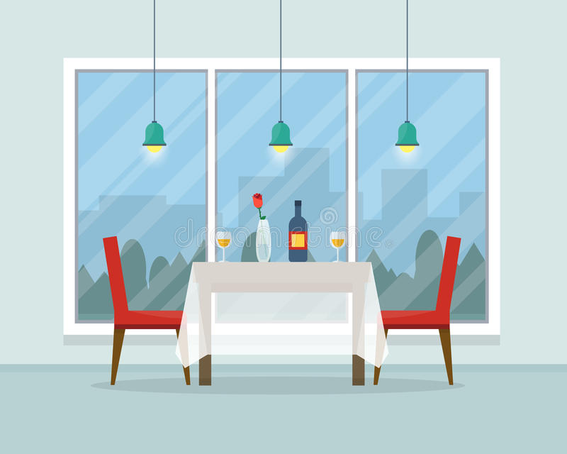 Download Dining Table For Date With Glasses Of Wine Stock Vector