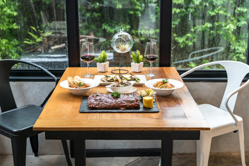 Dining table. With food ready to eat royalty free stock photos