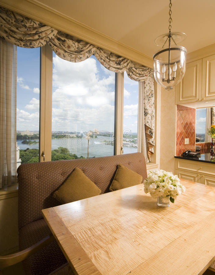 Download Dining Table In Kitchen Nook Penthouse New York Stock Photo - Image: 10354200