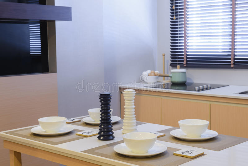Dining table and Kitchen room.  stock photography