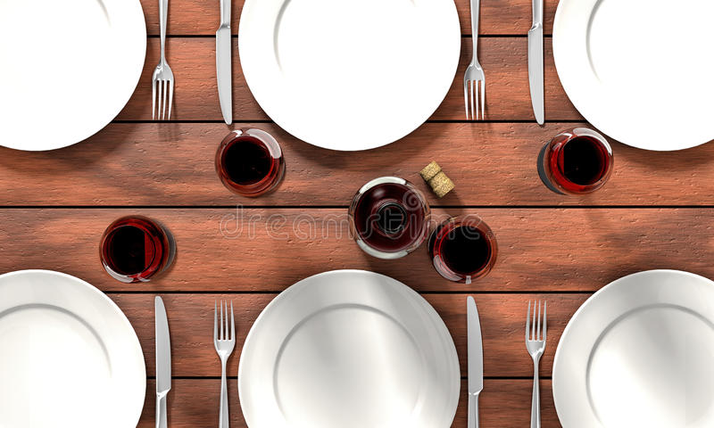 Dining table. Knife, fork, glasses and white dishes on the dining table stock illustration