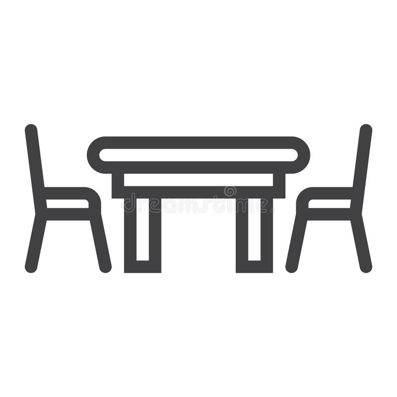 Dining table line icon furniture and interior stock for Comedor vector