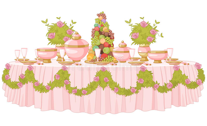 Dining Table in Princess Palace. Served dining table in princess palace stock illustration