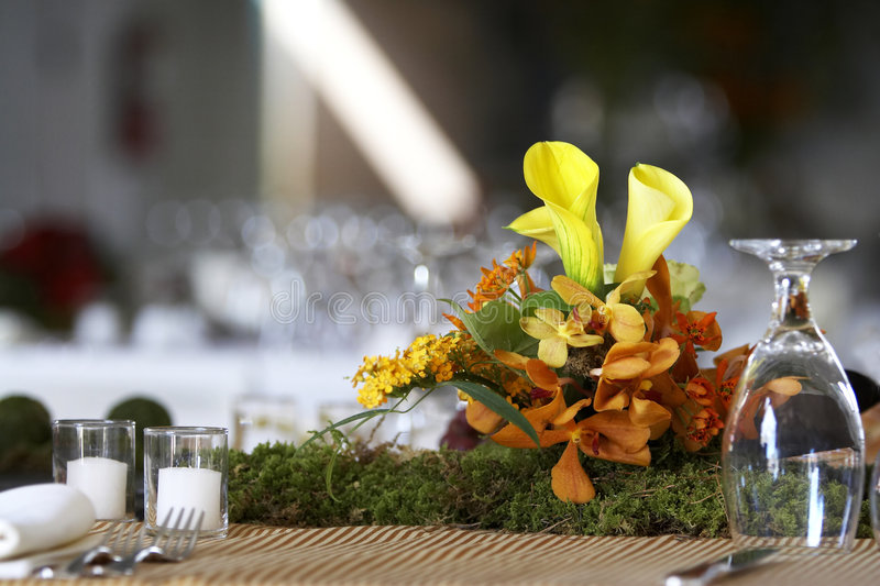 Dining table set for a wedding or corporate event royalty free stock photos