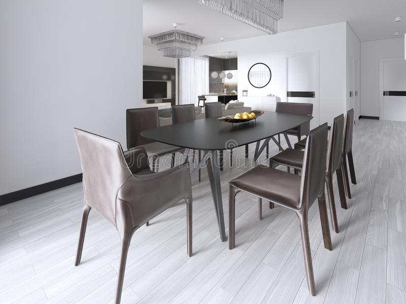 Dining table in a studio apartment in the Scandinavian style. 3d rendering stock illustration