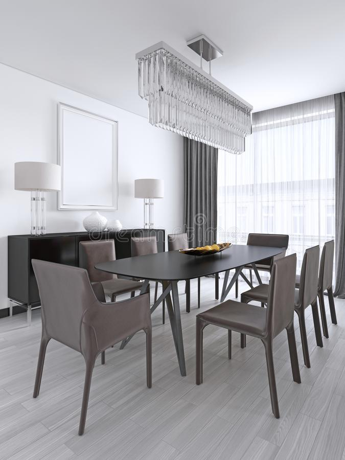 Dining table in a studio apartment in the Scandinavian style. 3d rendering royalty free illustration