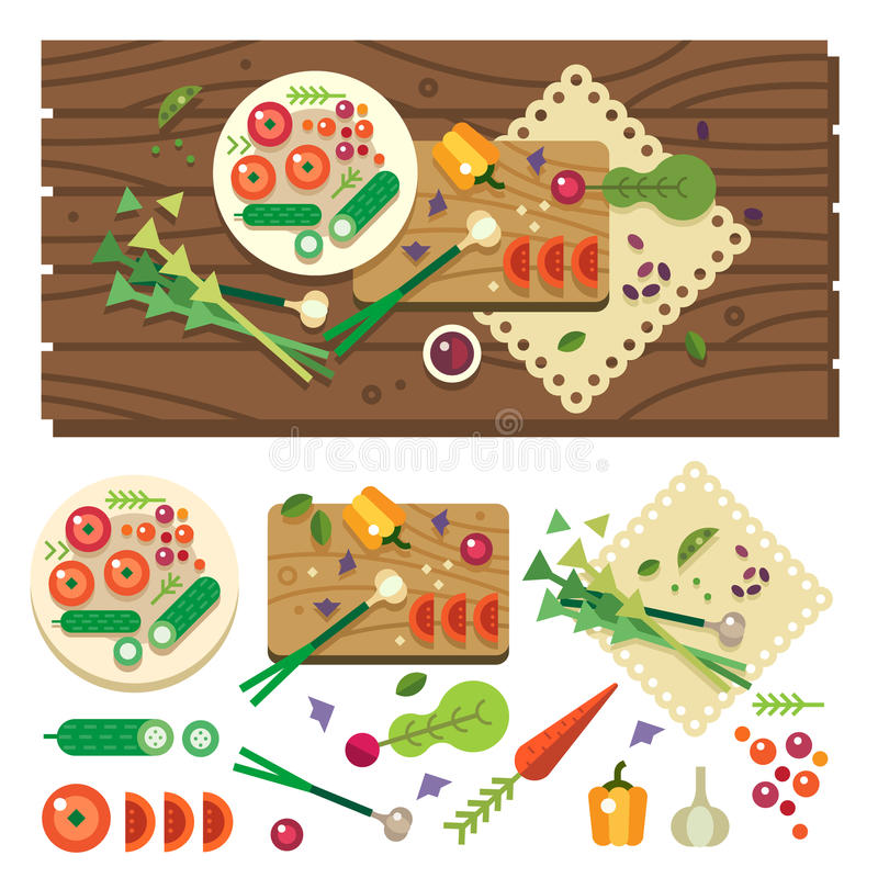 Dining table with vegetables. Top view. Diet. Vegetarian food. Cooking in kitchen, vegan salad in process. Vector flat illustration royalty free illustration