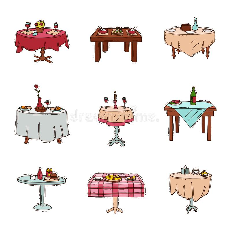 Dining tables in restaurant vector set lunch dinner date in cafe with glasses of wine Italian pizza Chinese food stock illustration